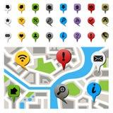 Mapa de la ciudad con los iconos de la navegación Foto de archivo libre de regalías