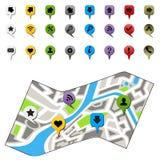 Mapa de la ciudad con los iconos de la navegación Fotos de archivo