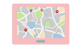 Mapa de la ciudad con los iconos de la navegación Imagen de archivo libre de regalías