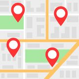 Mapa de la ciudad con los marcadores locales rojos ilustración del vector