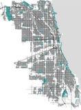 Mapa de la ciudad de Chicago, los E.E.U.U. Fotografía de archivo