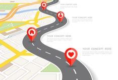 Mapa de la ciudad de la perspectiva del vector infographic Imagen de archivo