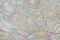 Mapa de la ciudad de Leeds Fotografía de archivo
