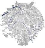 Mapa de la ciudad de París, Francia ilustración del vector