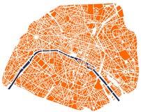 Mapa de la ciudad de París, Francia Foto de archivo libre de regalías