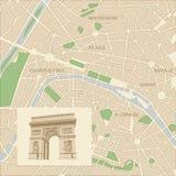 Mapa de la ciudad de París Fotografía de archivo libre de regalías