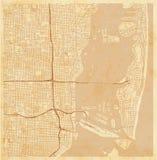 Mapa de la ciudad del vector de Miami en un papel del grunge del vintage ilustración del vector