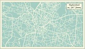Mapa de la ciudad de Hyderabad la India en estilo retro Ejemplo blanco y negro del vector stock de ilustración