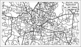 Mapa de la ciudad de Hyderabad la India en estilo retro Ejemplo blanco y negro del vector ilustración del vector