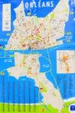 Mapa de la ciudad de Orleans en soporte al aire libre Foto de archivo libre de regalías