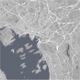Mapa de la ciudad de Oslo, Noruega Foto de archivo libre de regalías