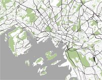 Mapa de la ciudad de Oslo, Noruega Fotos de archivo libres de regalías