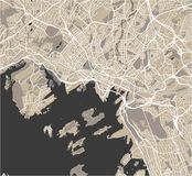 Mapa de la ciudad de Oslo, Noruega Imágenes de archivo libres de regalías