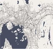 Mapa de la ciudad de Oslo, Noruega Fotografía de archivo