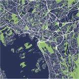 Mapa de la ciudad de Oslo, Noruega Imagen de archivo libre de regalías