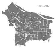 Mapa de la ciudad de Portland Oregon con el ejemplo gris si de las vecindades Imagen de archivo