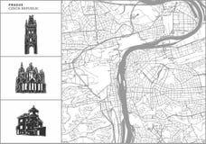 Mapa de la ciudad de Praga con los iconos a mano de la arquitectura libre illustration