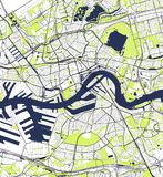 Mapa de la ciudad de Rotterdam, en Holanda Meridional, Países Bajos