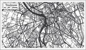 Mapa de la ciudad de Toulouse Francia en estilo retro Ejemplo blanco y negro del vector stock de ilustración