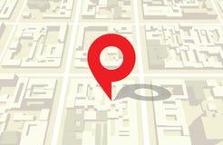 Mapa de la ciudad y la muestra de la ubicación Imágenes de archivo libres de regalías