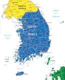 Mapa de la Corea del Sur Foto de archivo libre de regalías