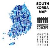 Mapa de la Corea del Sur del Demographics ilustración del vector