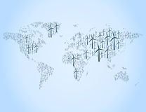 Mapa de la energía eólica Fotos de archivo libres de regalías