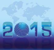 Mapa de la Feliz Año Nuevo 2015 Foto de archivo libre de regalías