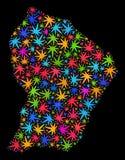 Mapa de la Guayana Francesa del mosaico de las hojas multicoloras de la marijuana stock de ilustración