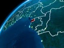Mapa de la Guinea Ecuatorial en la noche Imagen de archivo libre de regalías