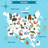 Mapa de la historieta del continente de Eurasia con diversos animales Imágenes de archivo libres de regalías