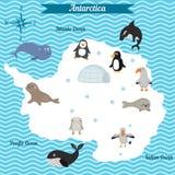 Mapa de la historieta del continente de la Antártida con diversos animales