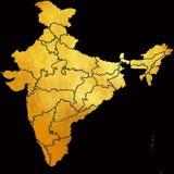 Mapa de la India, Asia con todos los estados y límite del país en modelo abstracto de oro brillante creativo de la textura Elemen stock de ilustración