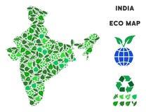 Mapa de la India del collage del verde de la hoja del vector ilustración del vector
