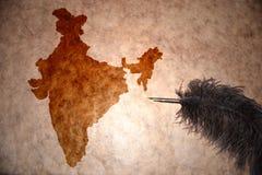 Mapa de la India del vintage fotografía de archivo