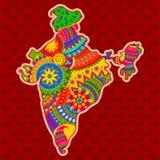 Mapa de la India en estilo indio del arte Fotos de archivo libres de regalías