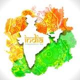 Mapa de la India para el Día de la Independencia indio Foto de archivo libre de regalías
