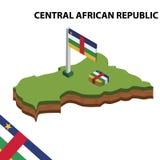 Mapa de la información y bandera isométricos gráficos de la REPÚBLICA CENTROAFRICANA ejemplo isom?trico del vector 3d ilustración del vector