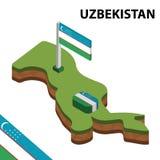 Mapa de la información y bandera isométricos gráficos de UZBEKISTÁN ejemplo isom?trico del vector 3d stock de ilustración