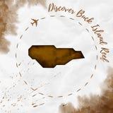 Mapa de la isla de la acuarela de Buck Island Reef en sepia ilustración del vector