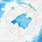 Mapa de la isla de la acuarela de Majorca en colores de la turquesa Foto de archivo libre de regalías
