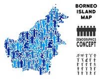 Mapa de la isla de Borneo del Demographics ilustración del vector