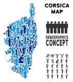 Mapa de la isla de Córcega Francia del Demographics libre illustration