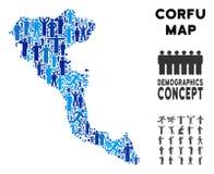 Mapa de la isla de Corfú del Griego del Demographics libre illustration