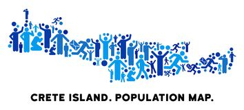 Mapa de la isla de Creta del Demographics stock de ilustración