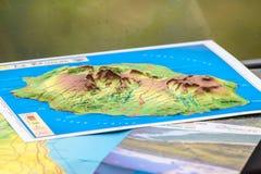Mapa de la isla de la reunión Imágenes de archivo libres de regalías