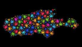 Mapa de la isla del canguro del mosaico de las hojas coloreadas del cáñamo stock de ilustración