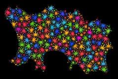 Mapa de la isla del jersey del mosaico de las hojas multicoloras del cáñamo stock de ilustración