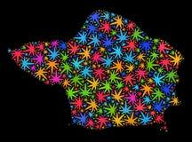 Mapa de la isla de Faial del mosaico de las hojas brillantes de la marijuana libre illustration