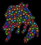 Mapa de la isla de Gambier del mosaico de las hojas coloreadas del cáñamo ilustración del vector